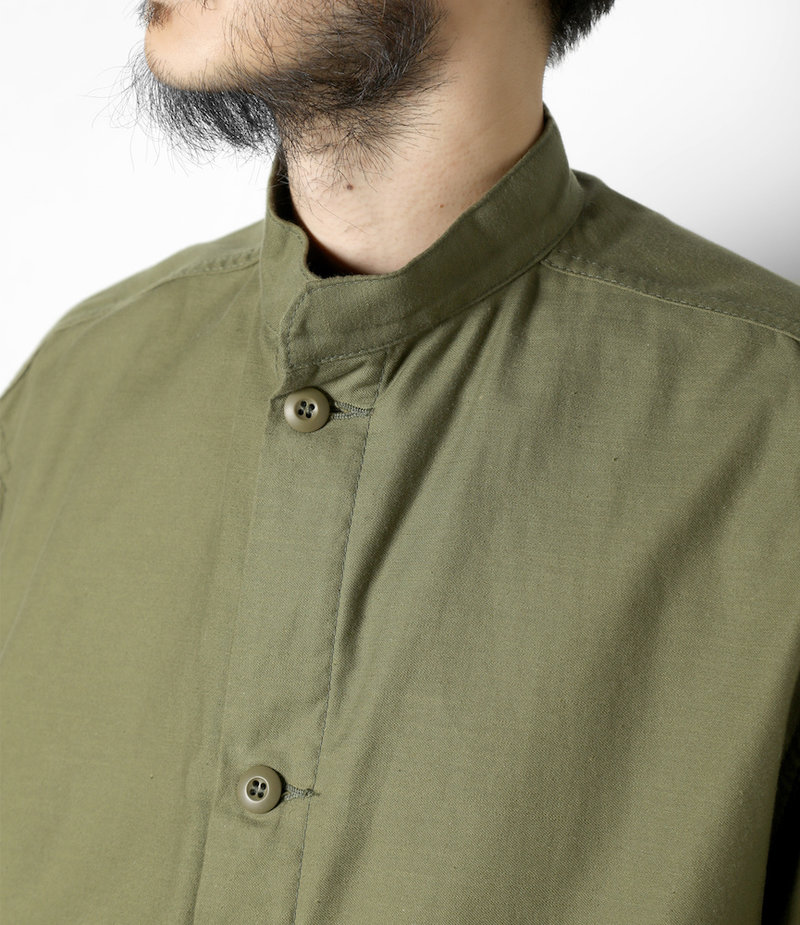 Needles Stand Collar Army Shirt - Cotton Back Sateen - Olive
