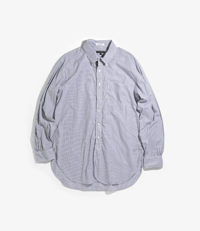 Engineered Garments 19 Century BD Shirt - Navy/White Cotton Narrow Stripe Broadcloth