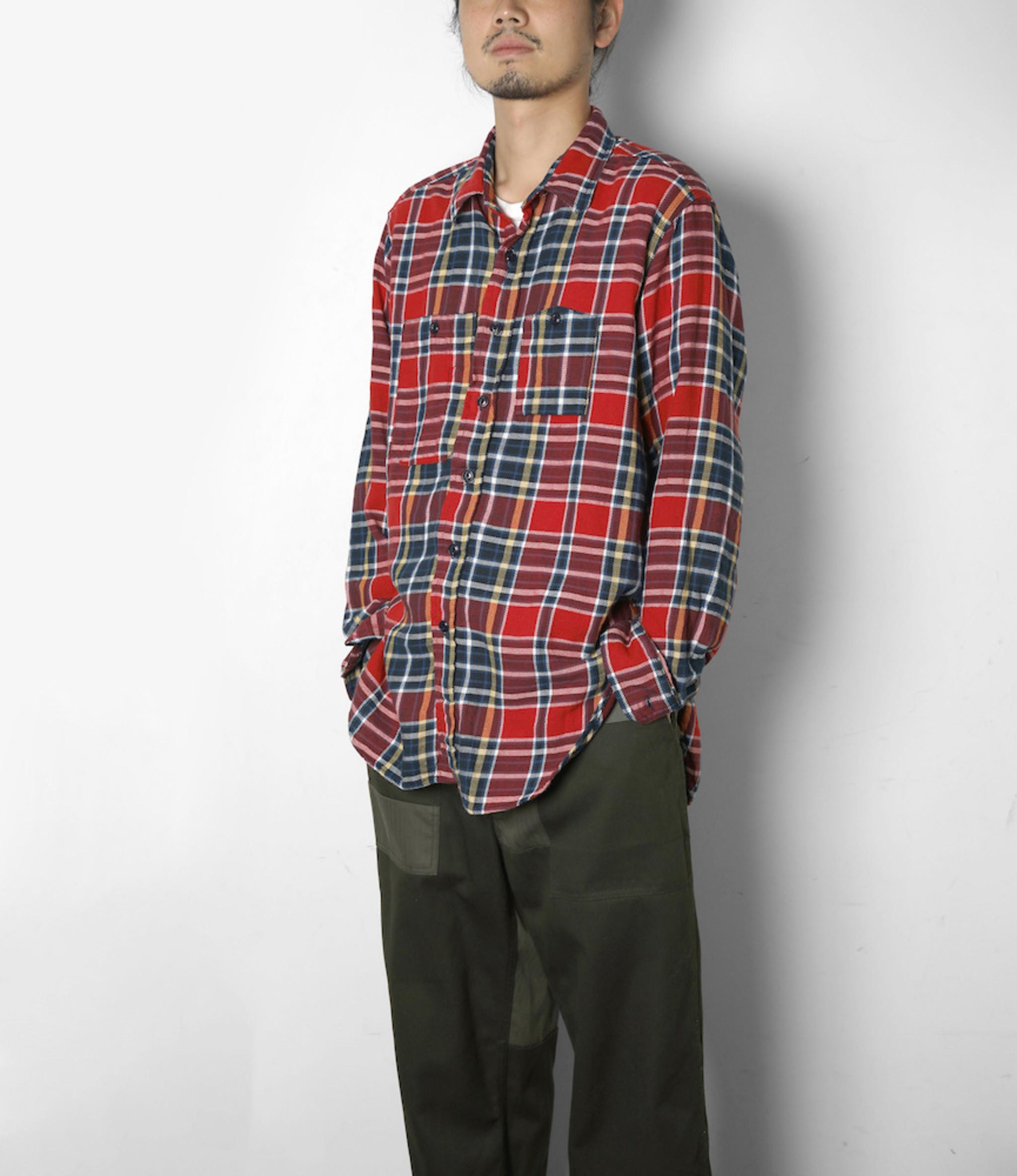Engineered Garments Work Shirt - Red/Navy Cotton Twill Plaid