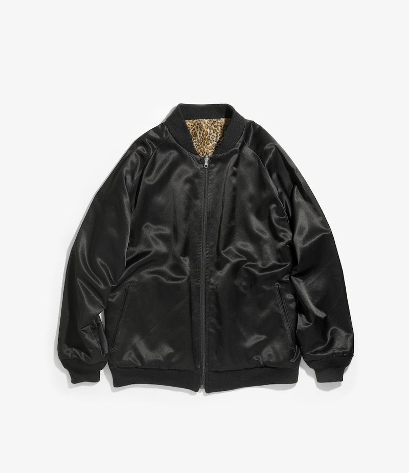 Needles Reversible Rib Collar Jacket - C/R Sateen / Rayon Pile - Black
