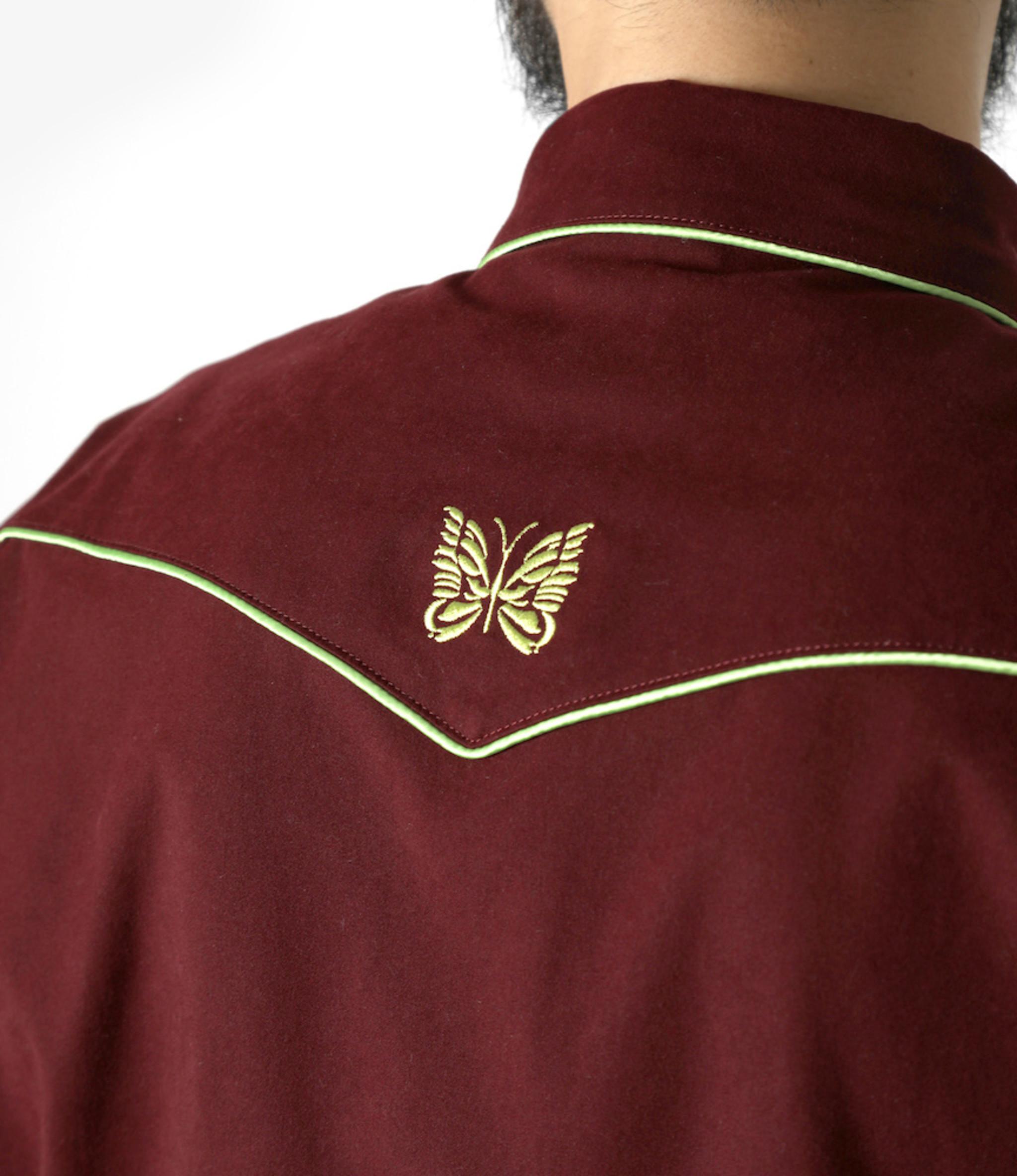 Needles Papillon Emb. Piping Cowboy Shirt - Poly Peach Twill - Bordeaux