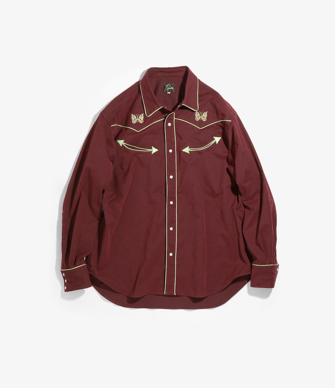 Needles Papillon Emb. Piping Cowboy Shirt - Poly Peach Twill - Bordeaux