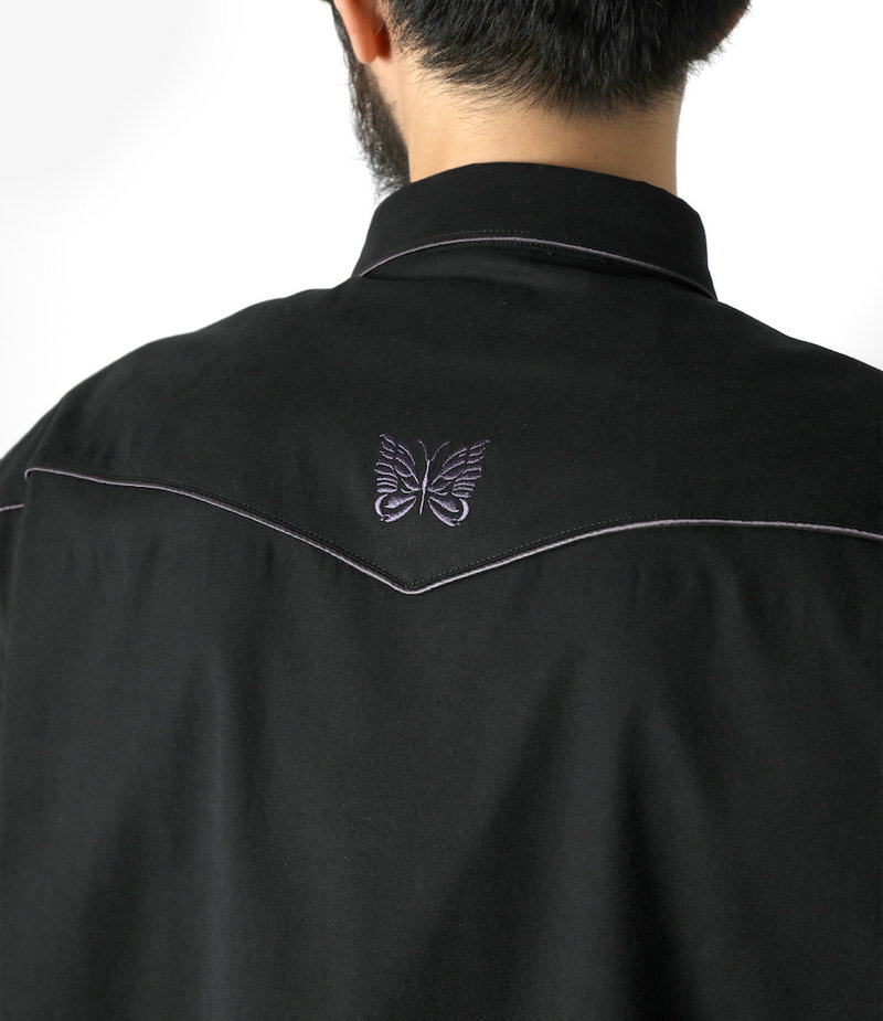 Needles Papillon Emb. Piping Cowboy Shirt - Poly Peach Twill - Black