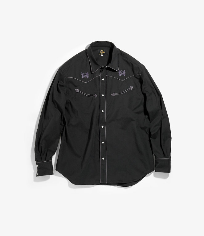 Needles Papillon Emb. Piping Cowboy Shirt - Poly Peach Twill - Black