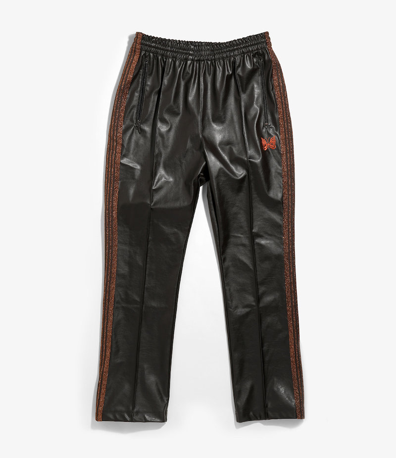 Needles Narrow Track Pant - Synthetic Leather / Lame  - Brown