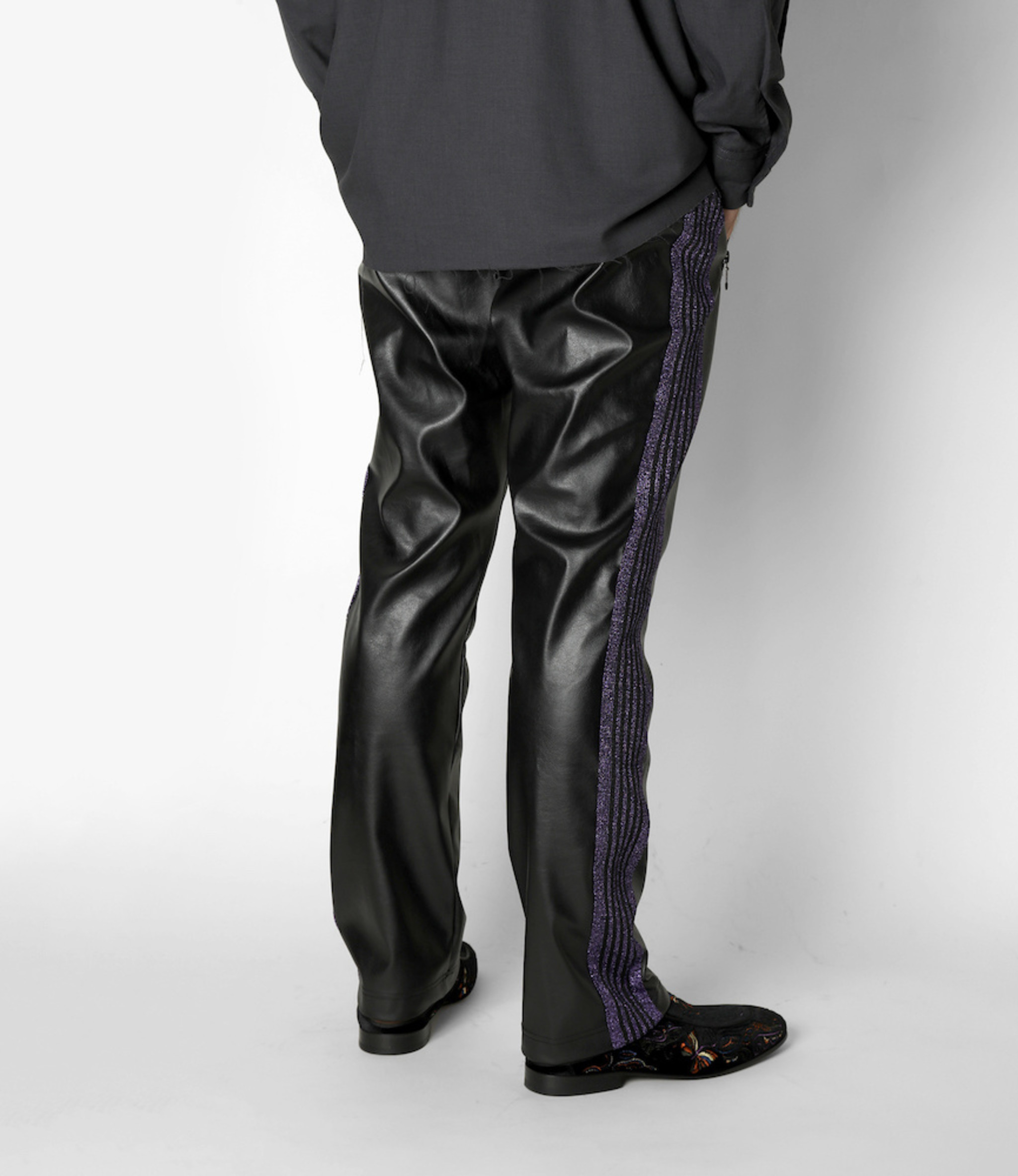Needles Narrow Track Pant - Synthetic Leather / Lame Tape - Black