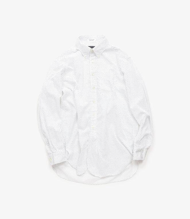 Engineered Garments 19 Century BD Shirt - White/Navy Cotton Micro Polka Dot Broadcloth