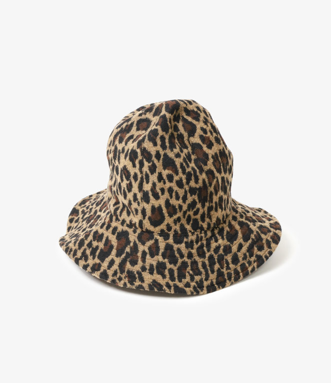 Engineered Garments Dome Hat - Brown Poly Wool Leopard Jacquard