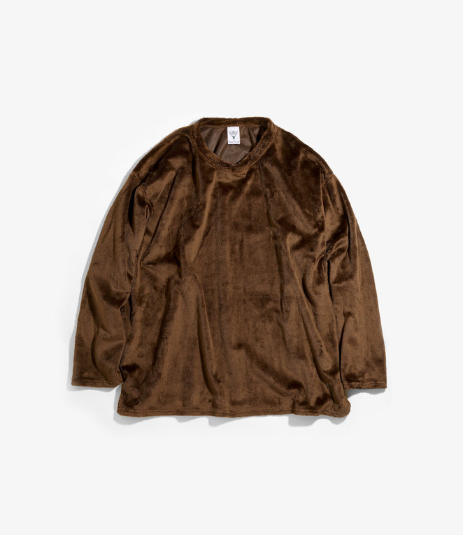 South2 West8 Side Slit Crew Neck Shirt Micro Fleece - Dk.Brown