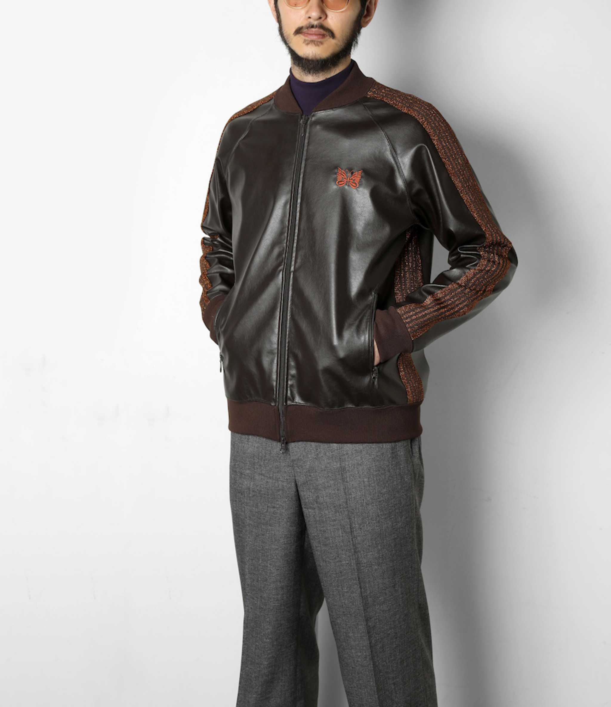 Needles Rib Collar Track Jacket - Synthetic Leather /  - Brown