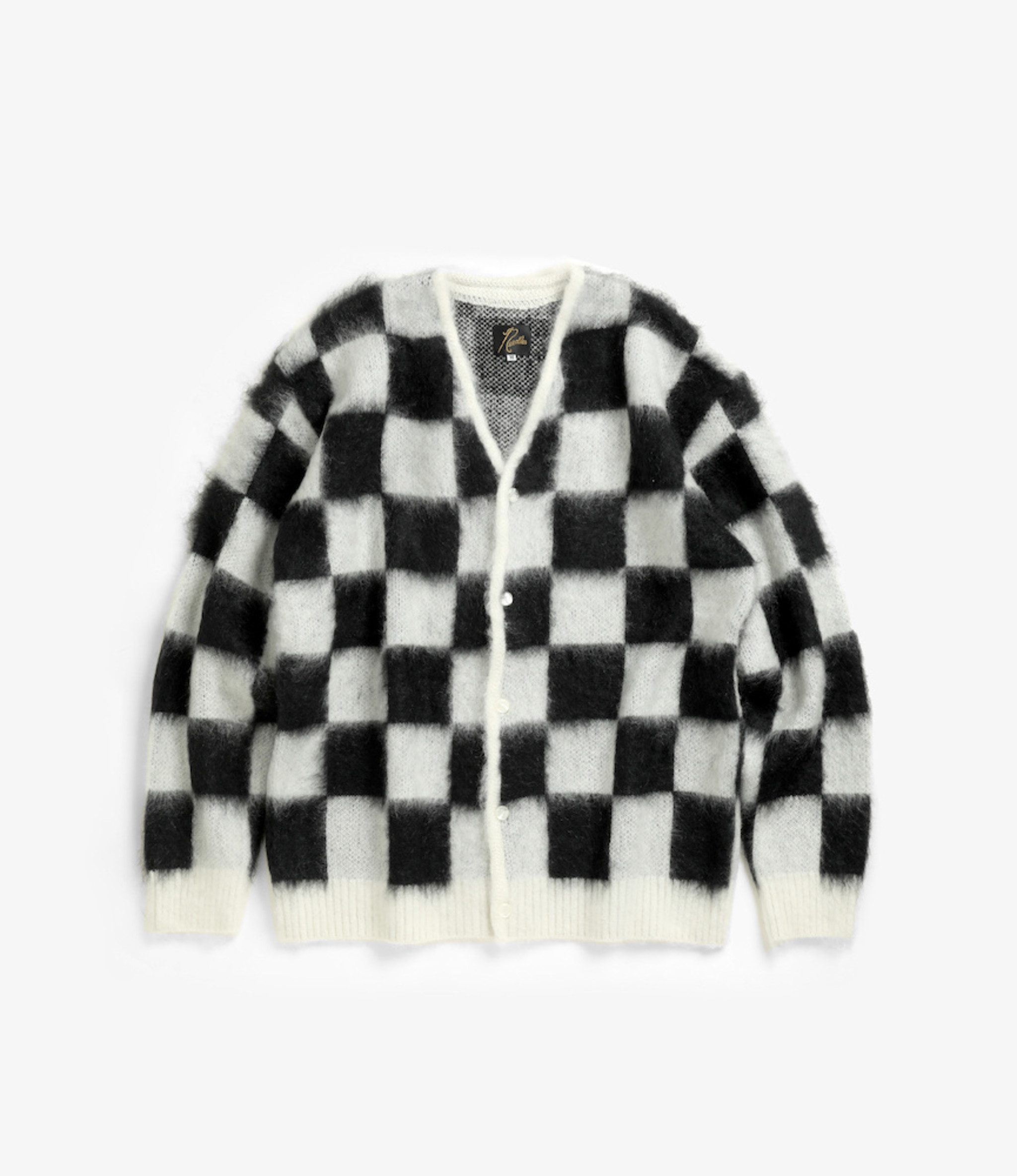 Needles Mohair Cardigan - Checkered - Off White
