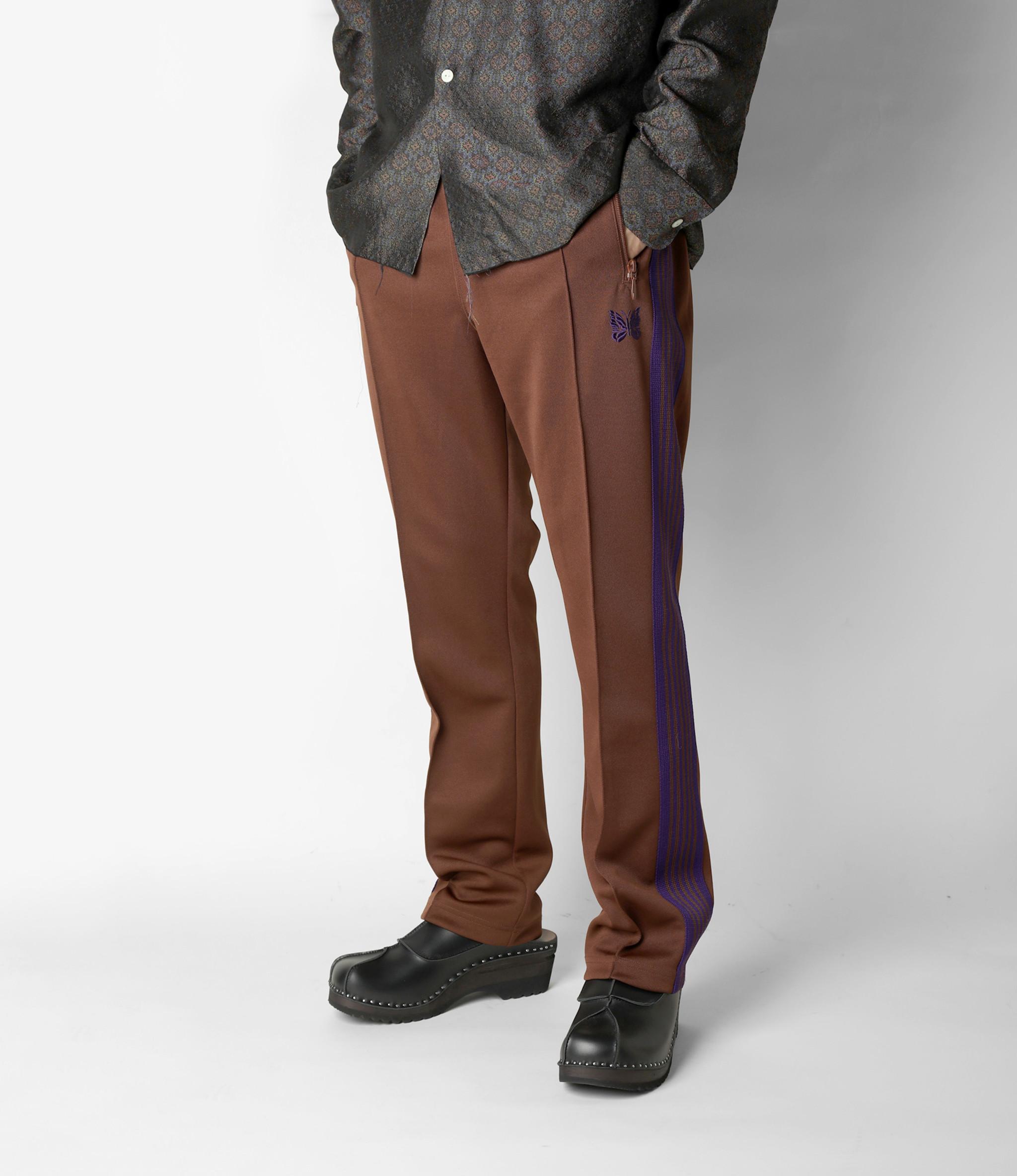 Needles Narrow Track Pant - Poly Smooth - Brown