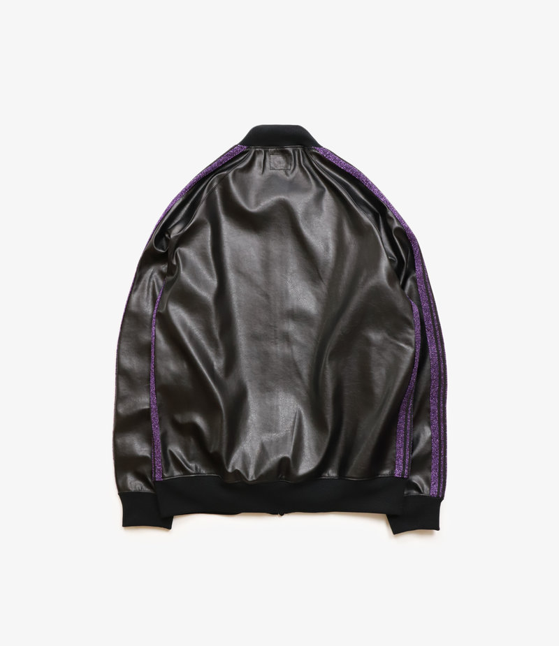 Needles Rib Collar Track Jacket - Synthetic Leather /  - Black