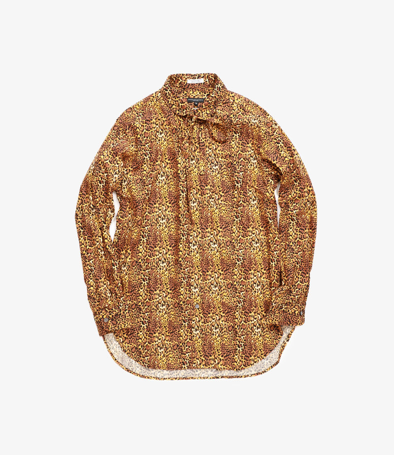 Engineered Garments Rounded Collar Shirt - Brown Cotton Leopard Print