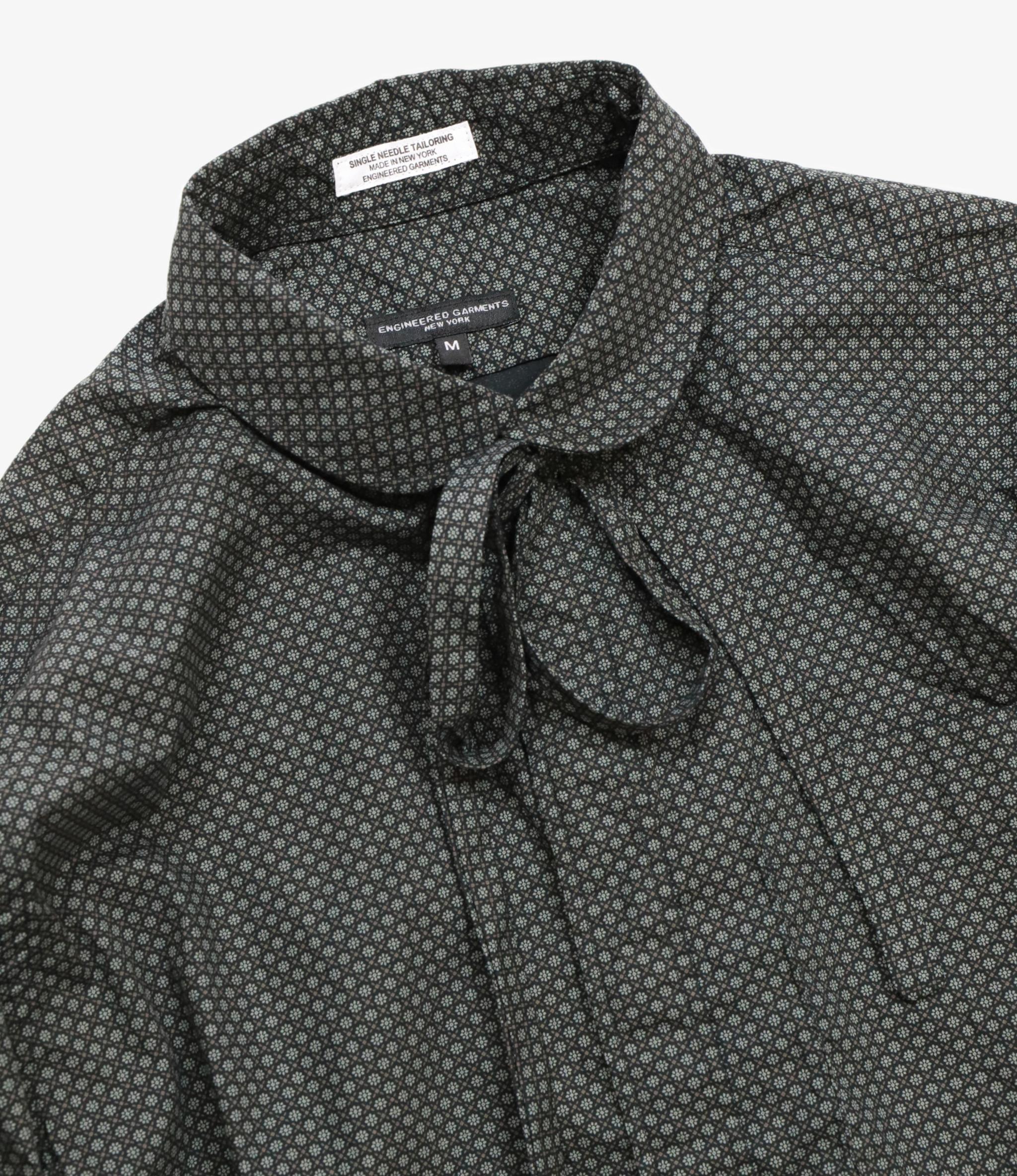 Engineered Garments Rounded Collar Shirt - Black Cotton Mini Foulard