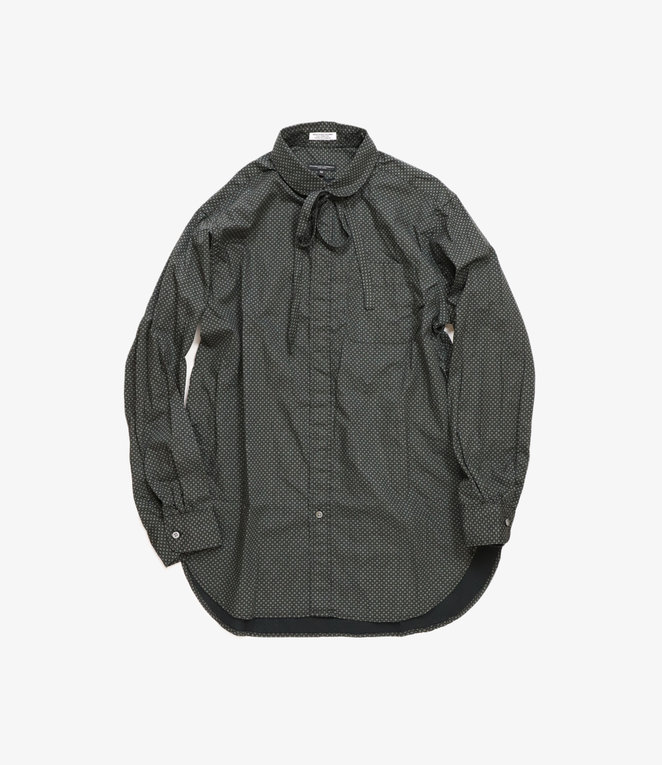 Engineered Garments Rounded Collar Shirt - Black Cotton Mini Foulard