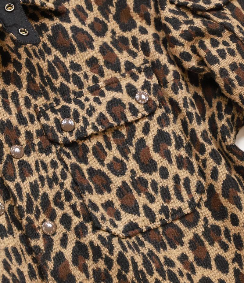 Engineered Garments Field Shirt Jacket - Brown Poly Wool Leopard Jacquard