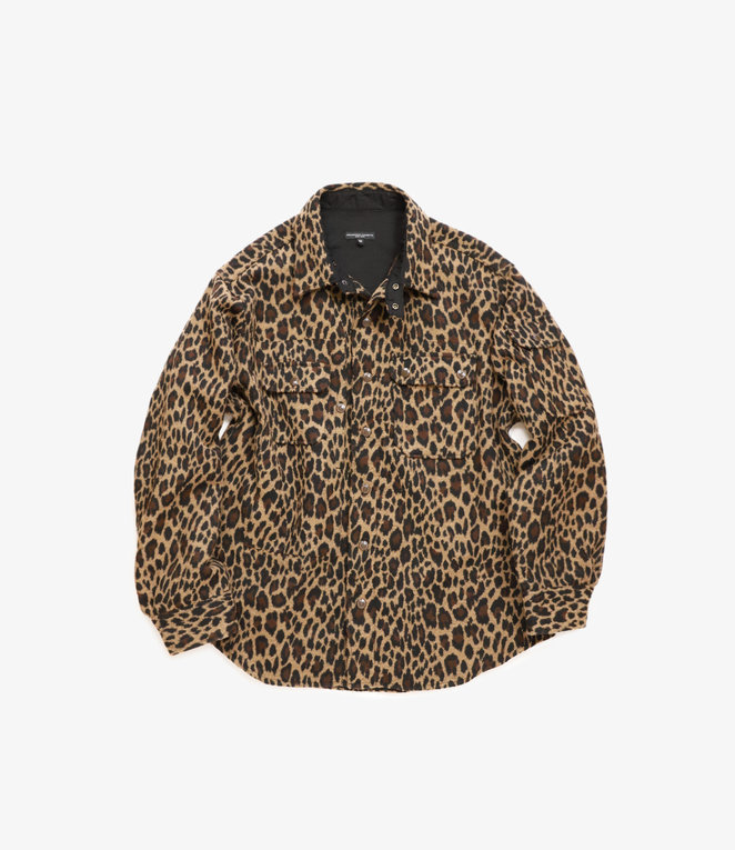 Engineered Garments Field Shirt Jacket - Brown Poly Wool Leopard Jacquard