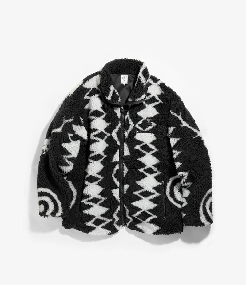 South2 West8 Piping Jacket Poly Jacquard Pile / S2W8 Native Pattern - Black/White