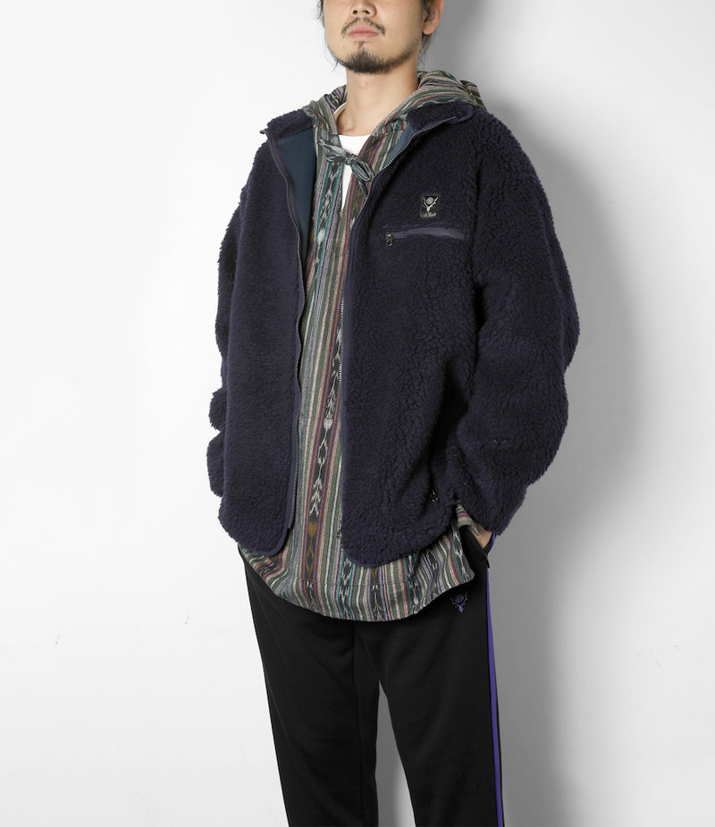 South2 West8 Piping Jacket Synthetic Pile - Navy