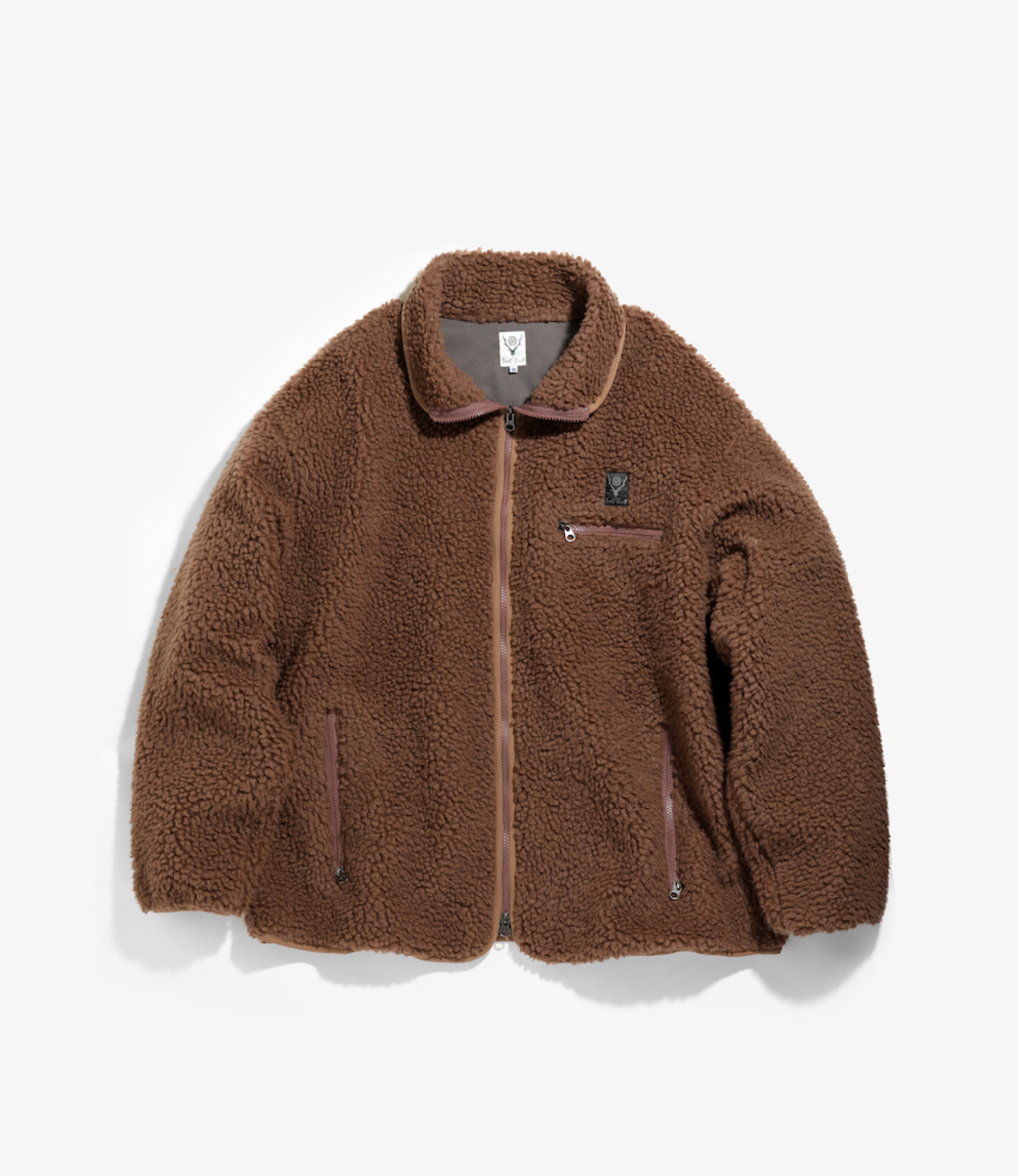 South2 West8 Piping Jacket Synthetic Pile - Mocha