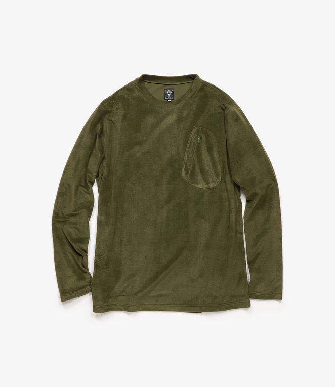 South2 West8 Zip Pocket L/S Tee Poly Fleece - Olive