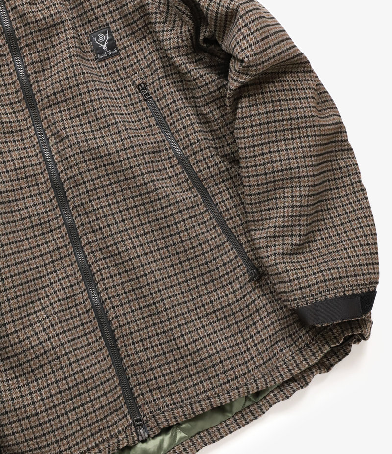 South2 West8 Weather Effect Jacket Poly Gunclub Plaid - Brown