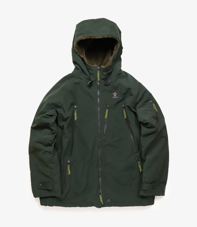 South2 West8 Zipped Coat Wax Coating - Green