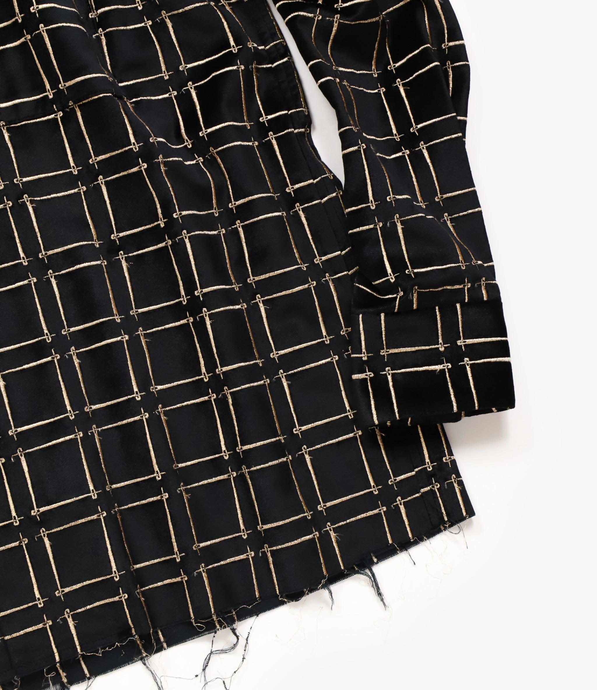 Needles Cut-Off Bottom One-Up Shirt - Needles Emb. C/R Velvet - Black