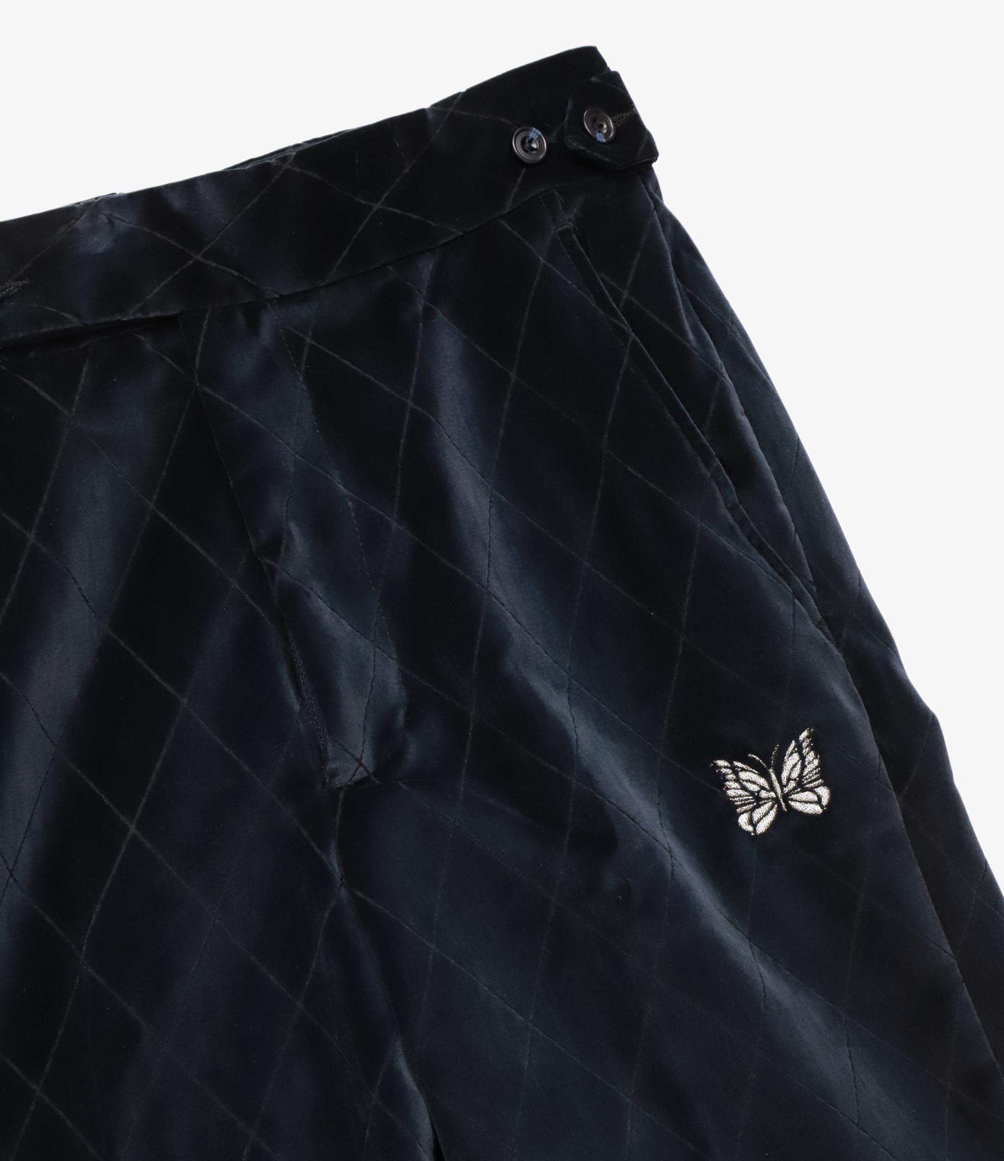 Needles Side Tab Trouser - Pe/C Velvet / Opal Finished - Navy