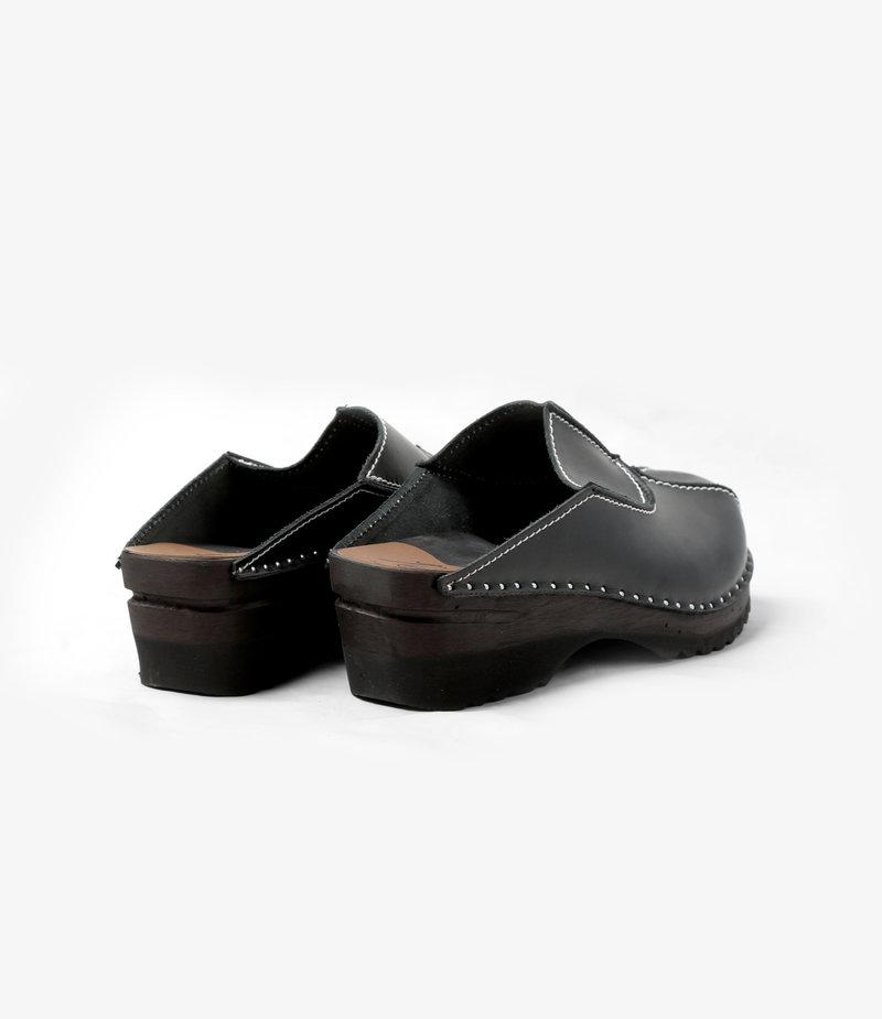 Swedish Clog - Smooth/Gusset - Black/Natural