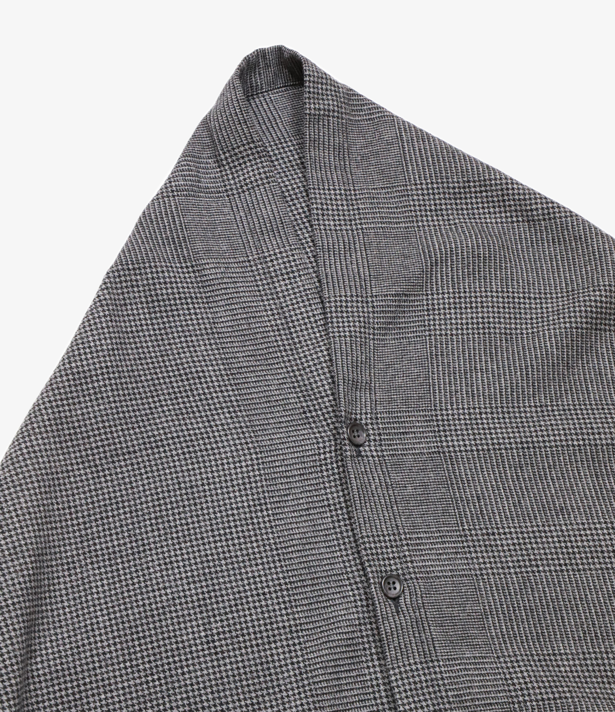Engineered Garments Button Shawl - Grey Wool Glen Plaid Houndstooth