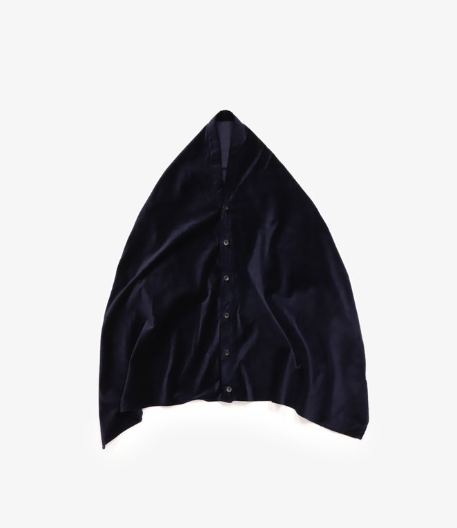 Engineered Garments Button Shawl - Dark Navy Cotton Velveteen