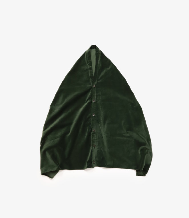Engineered Garments Button Shawl - Olive Cotton Velveteen