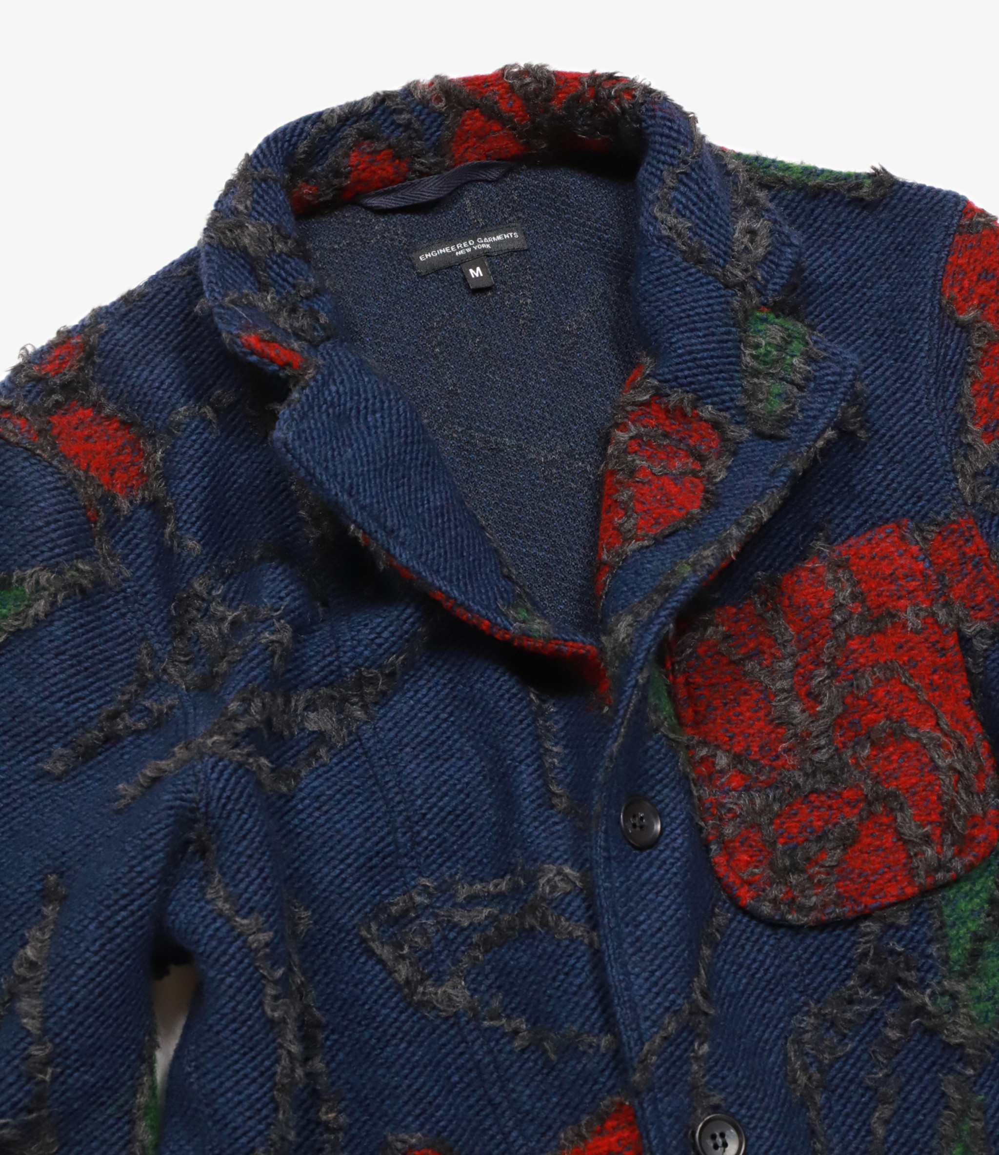 Engineered Garments Knit Jacket - Navy/Red Acrylic Wool Floral Knit Jacquard