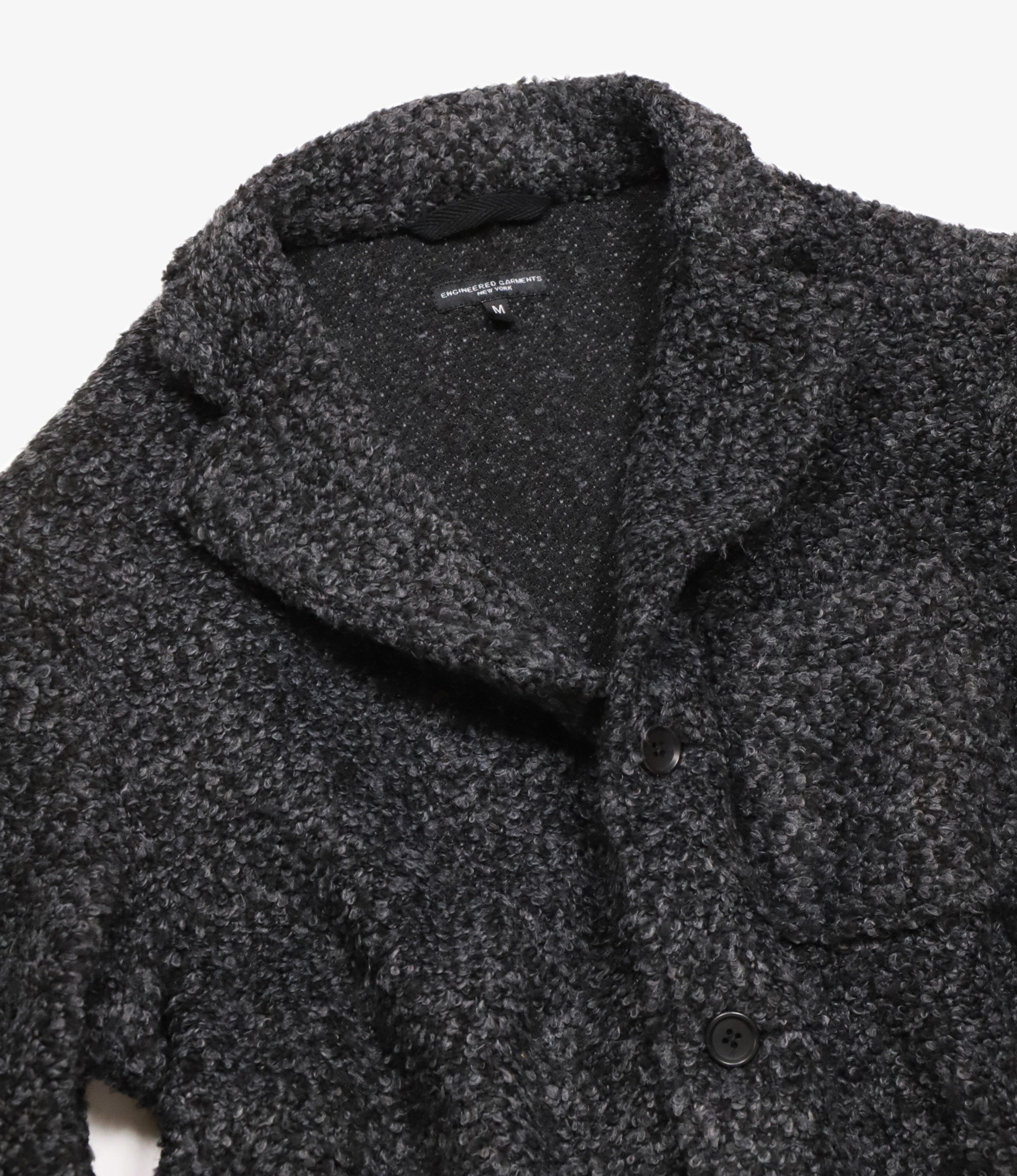 Engineered Garments Knit Jacket - Charcoal Poly Acrylic Curly Knit
