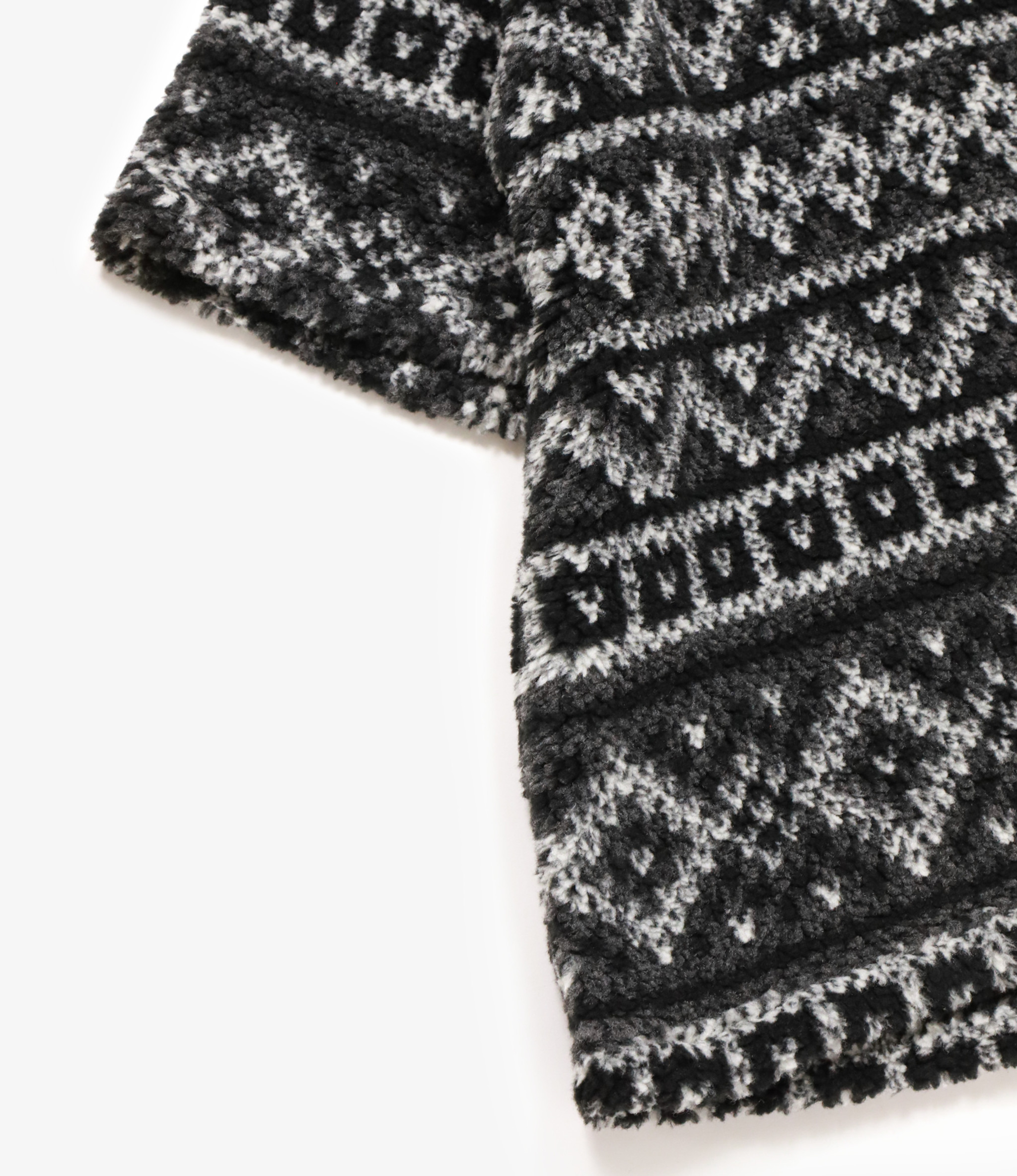Engineered Garments U Neck Popover - Black/Grey Poly Acrylic Fair Isle Sweater Knit