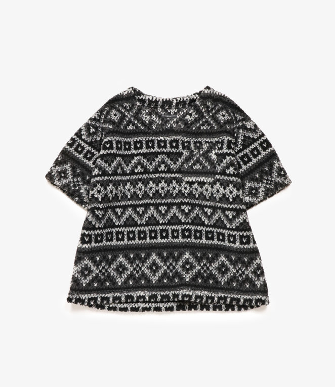 Engineered Garments U Neck Popover - Black/Grey Poly Acrylic Fair Isle Sweater Knit