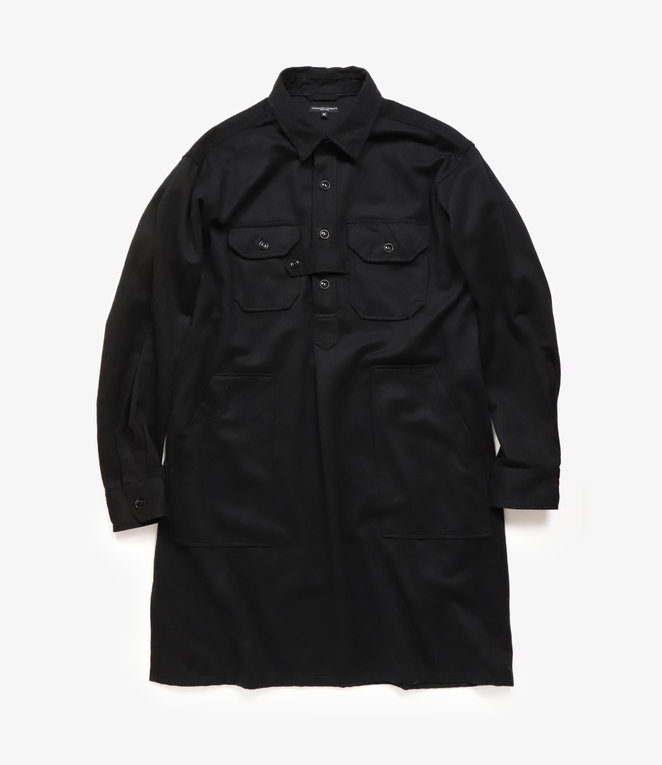 Engineered Garments Bird Shooter Shirt - Black Wool Cotton Flannel