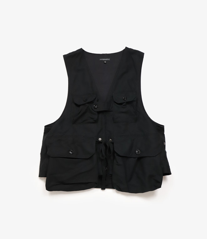 Engineered Garments Game Vest - Black Cotton Double Cloth