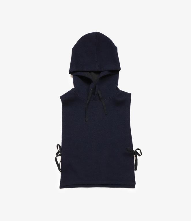 Engineered Garments Hooded Interliner - Dark Navy Poly Wool Jersey Knit
