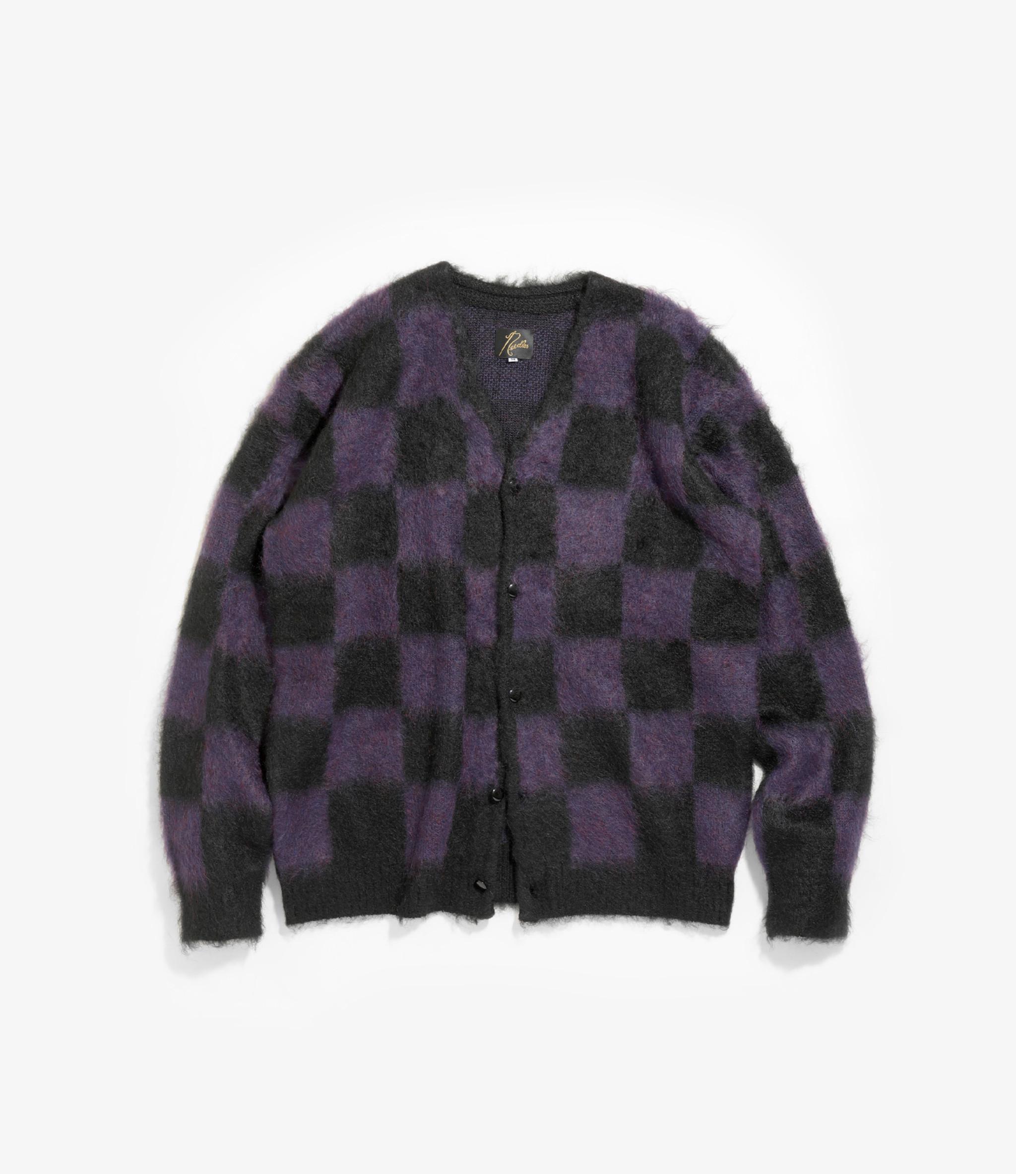 Needles Mohair Cardigan - Checkered - Black/Purple