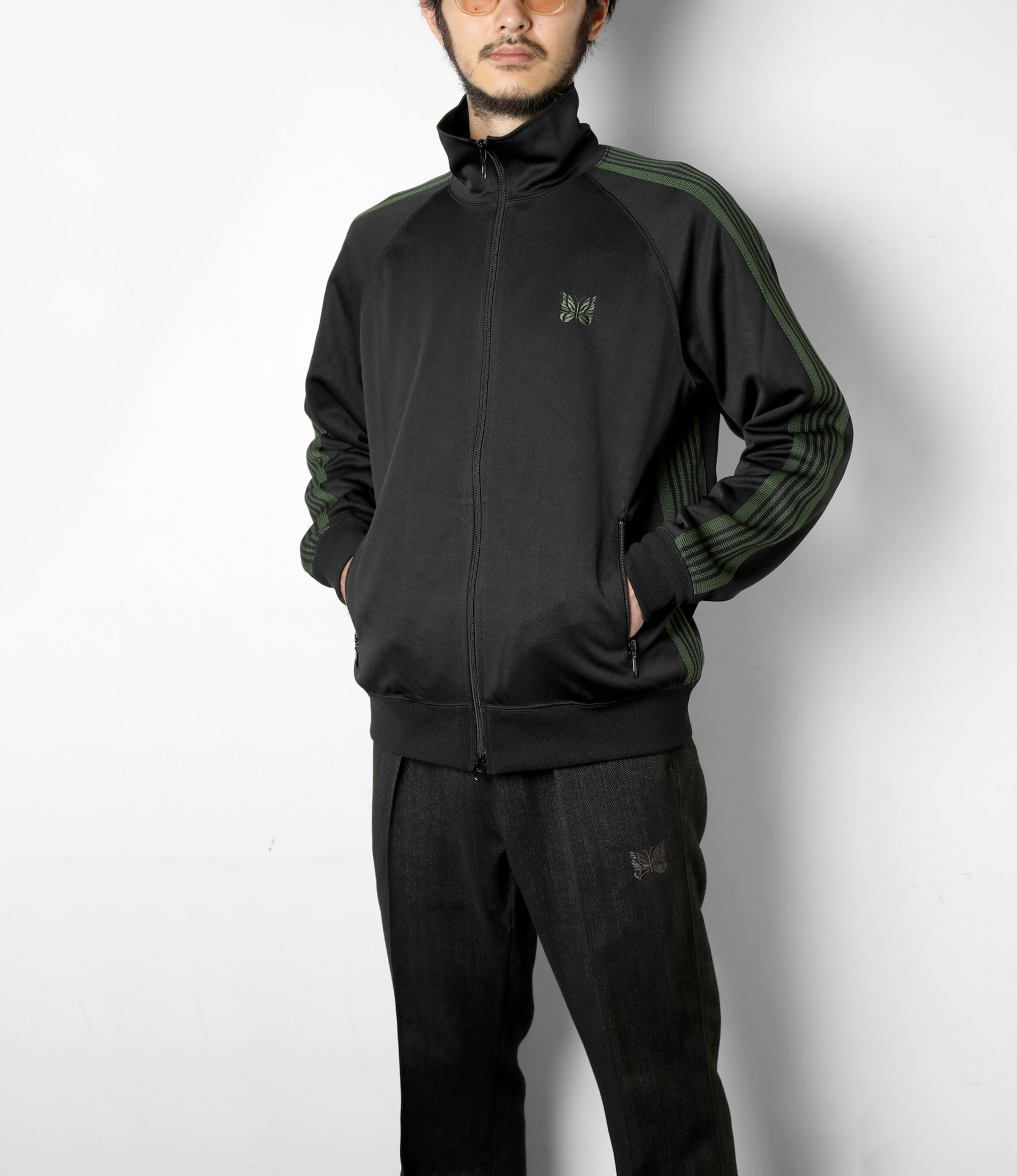 Needles Track Jacket - Poly Smooth - Black
