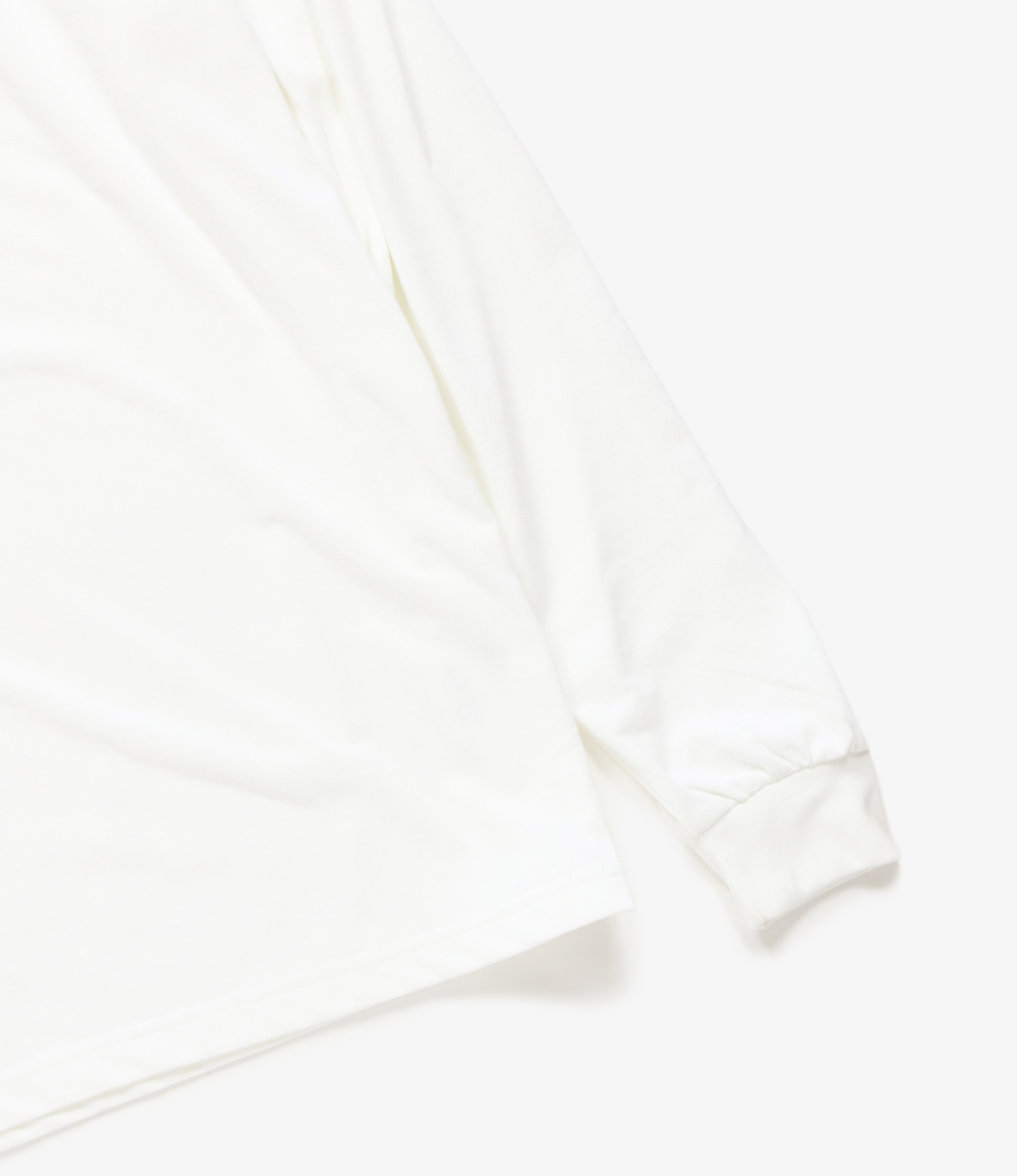 Needles L/S Mock Neck Tee - Synthetic Jersey - White