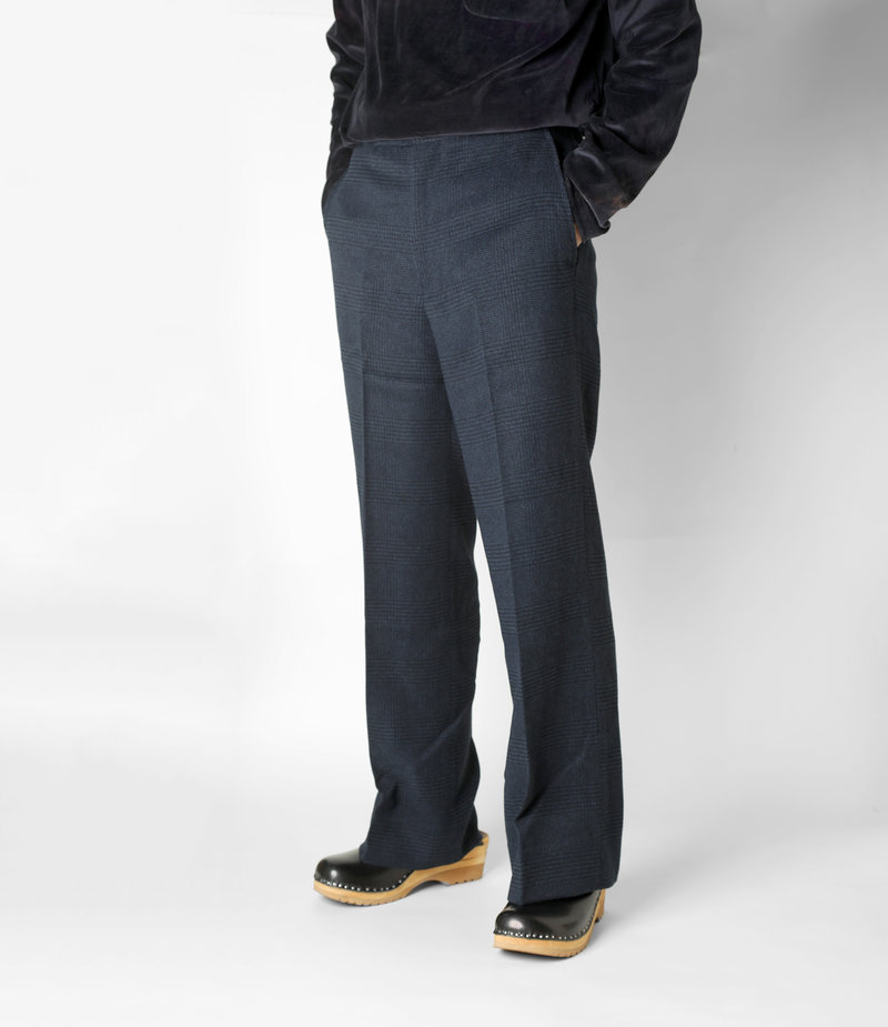 Needles Side Tab Trouser - Glen Plaid - Navy