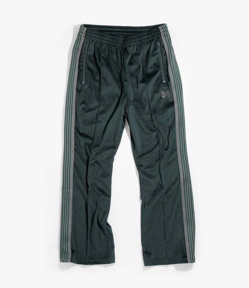Needles Boot-Cut Track Pant - Poly Velour - Green