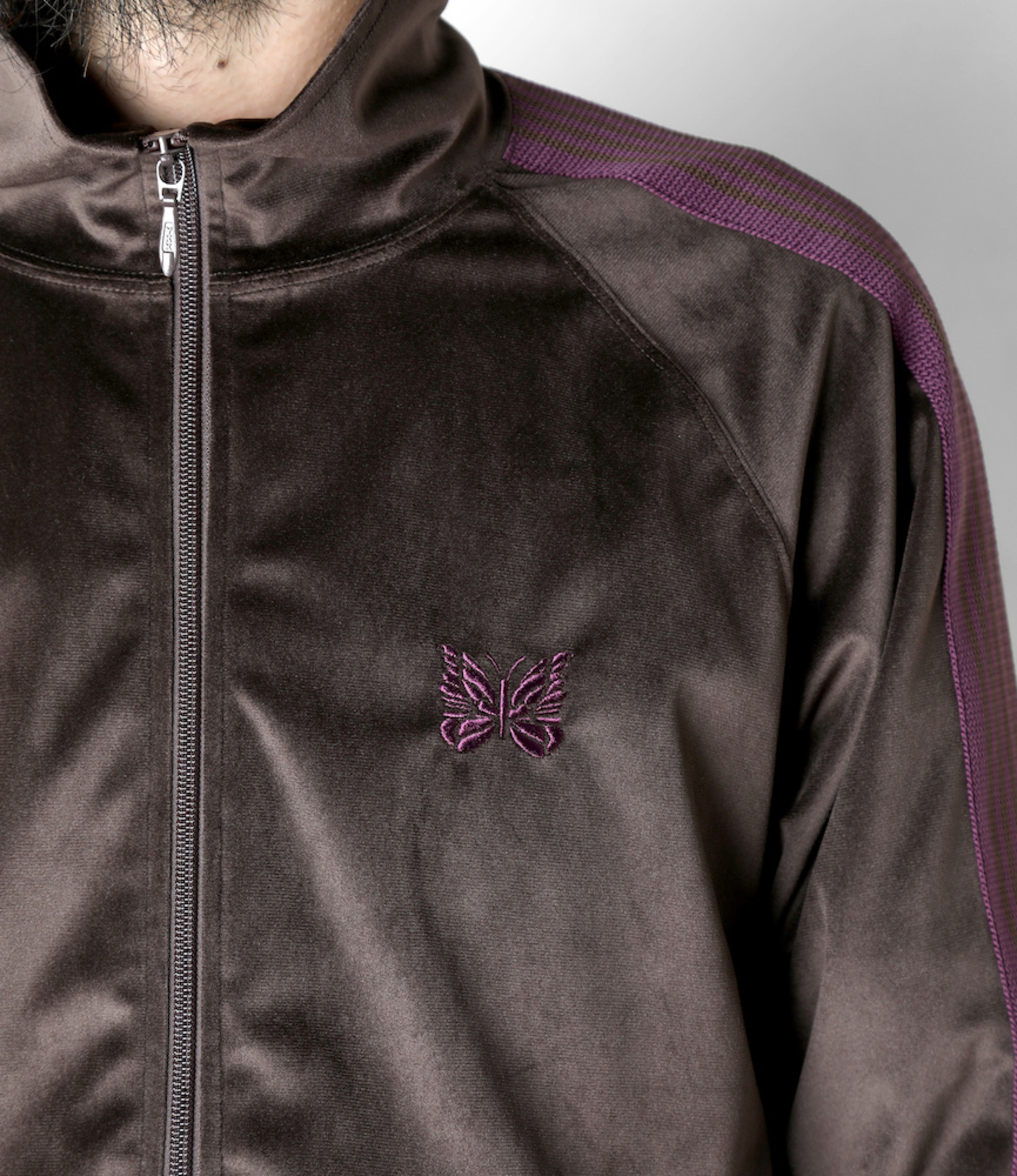 Needles Track Jacket - Poly Velour - Brown