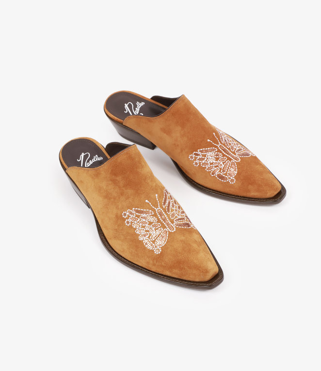 Needles Heeled Papillon Emb. Mule - Brown