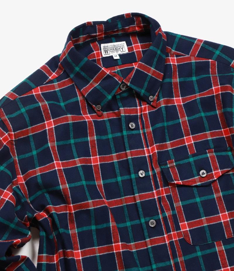 Workaday by Engineered Garments BD Shirt - Dark Navy/Red/Green Plaid Flannel