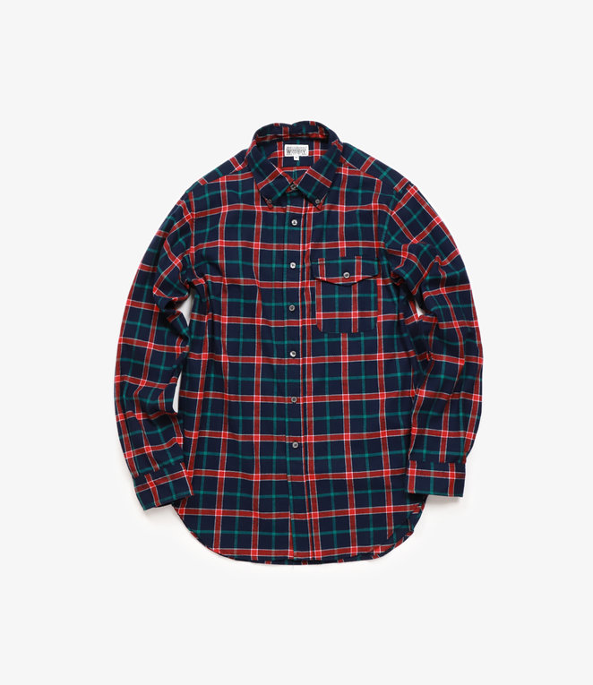 Workaday by Engineered Garments BD Shirt - Dark Navy/Red/Green Plaid Flannel